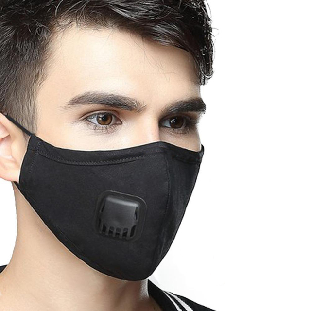 Reusable Face Masks Black Face Mask Washable Mouth Cap With Breathing Valve Activated Carbon Filter mascarillas