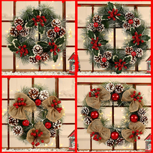 Christmas-Ornaments Ball-Decoration Wreath Door Pine-Cone New Red High-End