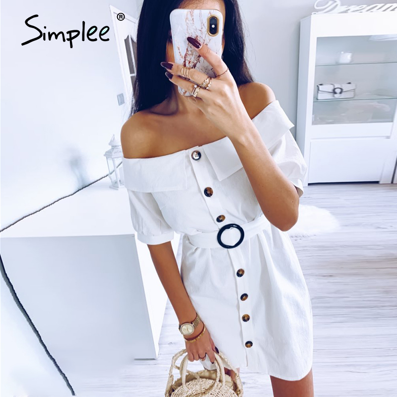 Simplee Women Off Shoulder Summer Dress Sexy Solid Single Breasted Mini Dress Streetwear Lady Chic Cotton Straight Office Dress
