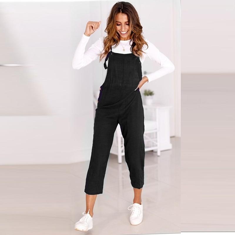 Bib Overalls For Women Jumpsuit Rompers Backless Strap Slim Trousers Playsuit Summer Casual Pants Jumpsuit Kombinezony