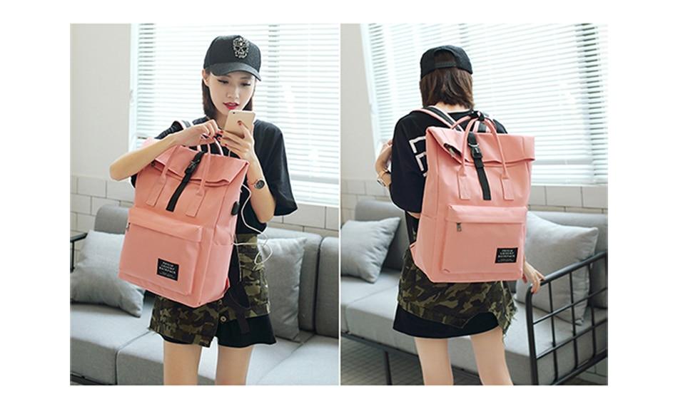 H81e329d8e8284bd5be84099b0be51566O TTOU Women External USB Charge Backpack Canvas School Backpack Mochila Escolar Girls Laptop Backpack