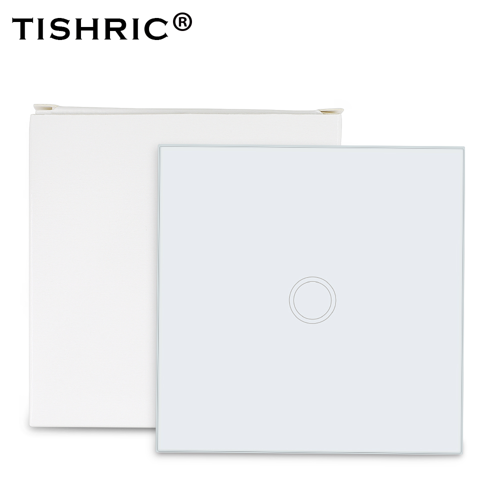 TISHRIC 86 Type 433mhz RF Remote Wall Control LED Light Glass Touch Panel Switch Wifi Wireless Smart Home Work With SONOFF T1/t2