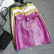 Europe style womens high-waist leather skirts Autumn winter women high quality real bowknot A-line A987