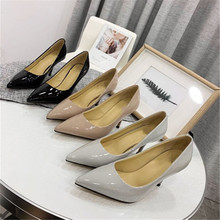 Top Quality Patent Leather Women #8217 s Heels Classic Solid Thin Heels Mature Ladies Shoes Party Office Spring Autumn Women #8217 s Shoes cheap STKEHIDBA Basic High (5cm-8cm) Fits true to size take your normal size Classics Shallow Sheepskin Office Career Genuine Leather