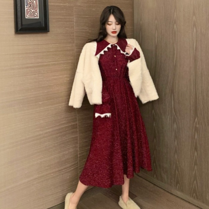 2019 New Style Korean-style Red Navy Collar Dress Autumn And Winter Loose-Fit Waist Hugging Long Sleeve Skirt Thick Long Over-th