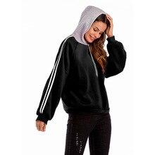 Fashion Minimalist Style Hoodies Long Sleeve Hooded Striped Pullover Cotton Warm Autumn Clothes Women Sweatshirt Sudadera Mujer