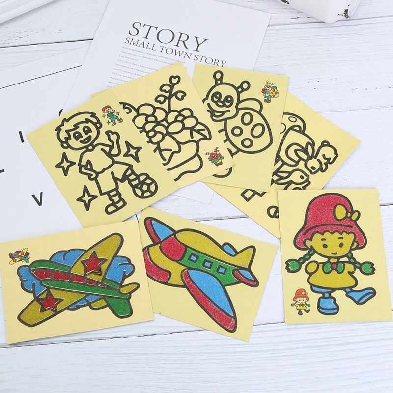 Kids DIY Color Sand Painting Art Creative Drawing Toys Sand  Art Crafts Toys Gift for Children Random Style
