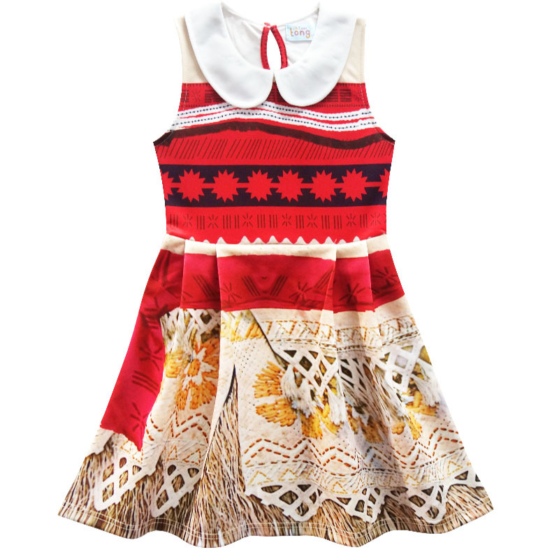Kids Girl Princess Party Dress Moana Adventure Elsa Clothing Girls Dress Set with wig and Necklace baby Vaiana Cosplay Clothes in Dresses from Mother Kids