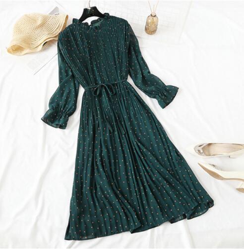 Women Print Pleated Chiffon Dress 2019 Spring Summer New Hot Fashion Female Casual Flare Sleeve Lotus leaf neck Basic Dresses