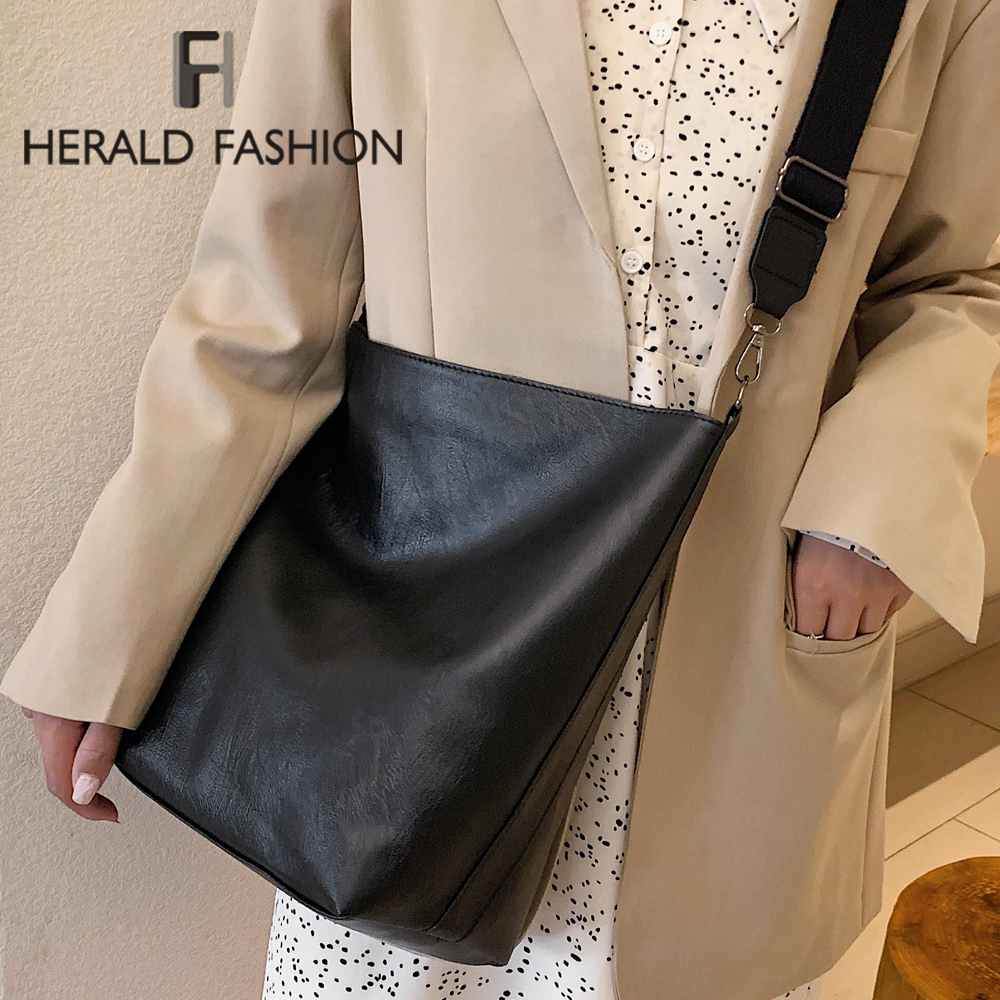 Herald Fashion Pu Leather Women Shoulder Bags Winter Hot Sale Female Casual Crossbody Bag Office Ladies High Quality Big Bag