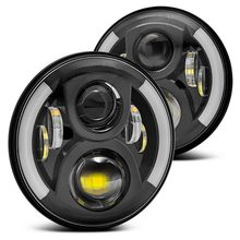 2pcs / 1pair Universal 7 Led Headlight H4 High Low Beam Round Cars Running Lights for Jeep Lada Niva 4x4