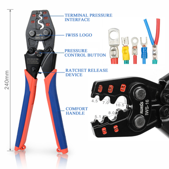 цена на IWS-16 crimper plier IWISS Ratchet Crimping Tool for Non-Insulated Terminals AWG 22-6 Polished Jaw Pressure regulating device