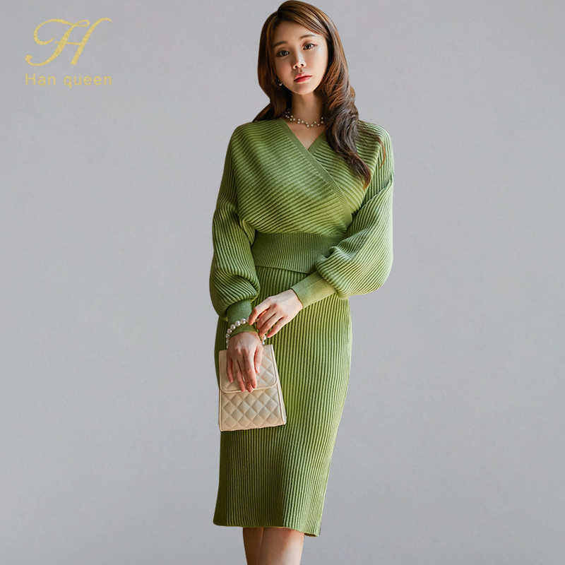 H Han Queen Solid Color Vintage Winter New 2 Pieces Knitted Set Women 2019 V-neck Sweater Tops And Sheath Pencil Bodycon Skirt