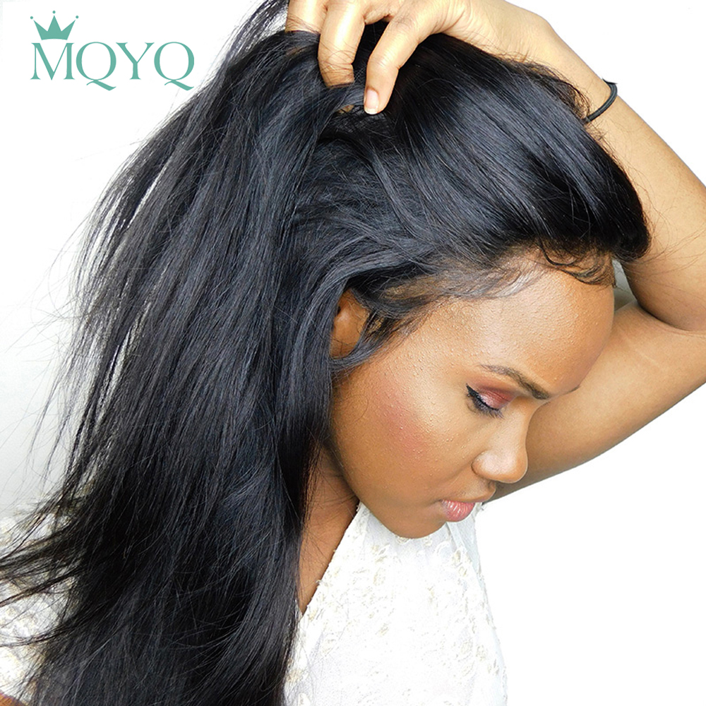 MQYQ 360 Lace Front Wig Straight Hair Wig Human Hair Wigs Malaysia Lace Front Non Remy Hair For Black Women Per Plucked