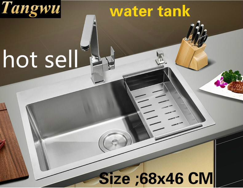 Tangwu 304 Stainless Steel Tank Kitchen Thickening Hand Drawing Thickening Manual Sink Single Tank 68x46 Cm