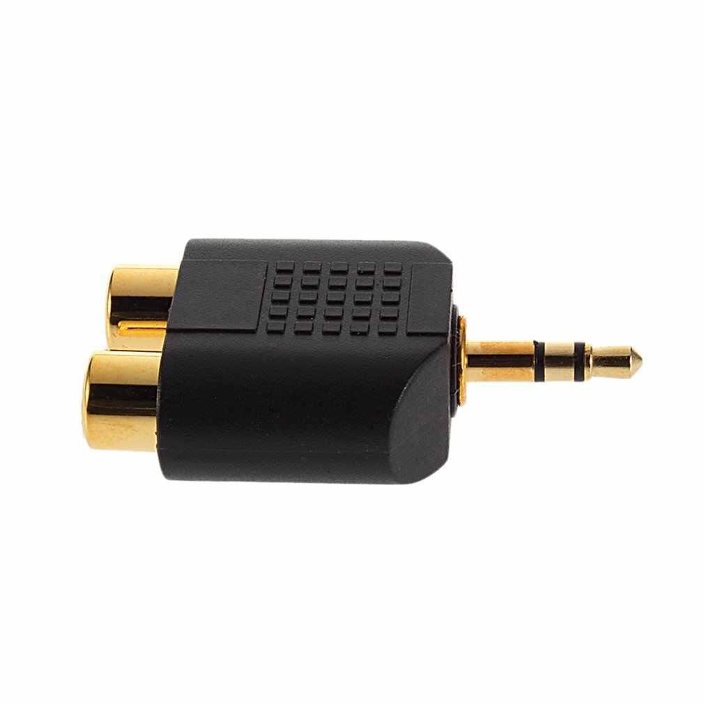 1 pc banhado a ouro 3.5mm plugue estéreo para 2rca (vermelho + branco) adaptador de conector fêmea