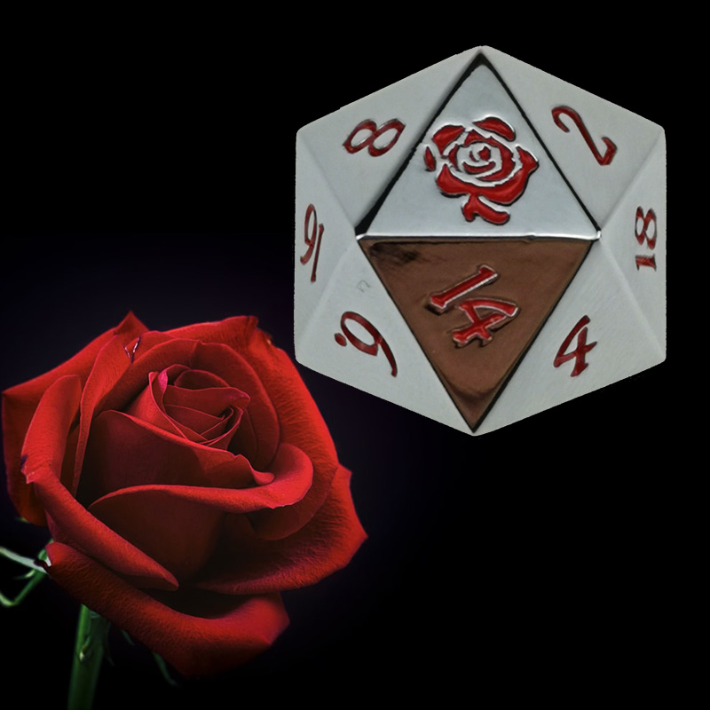 Rollooo 20 Sided Dice Rose / Rainbow Single Polyhedral Metal D20 Custom Logo Die For RPG DND MTG Games