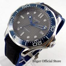 цена на BLIGER Mechanical Men Wristwatch Ceramic Bezel  Rubber Band Nologo/BLIGER Logo Dial Date Indicator