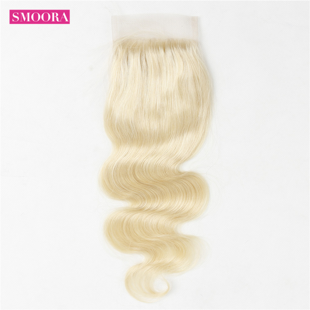 Body Wave Hair 613 Bundles Deal with Closure  with 4X4 Transparent Lace Closure  Free Part s 5