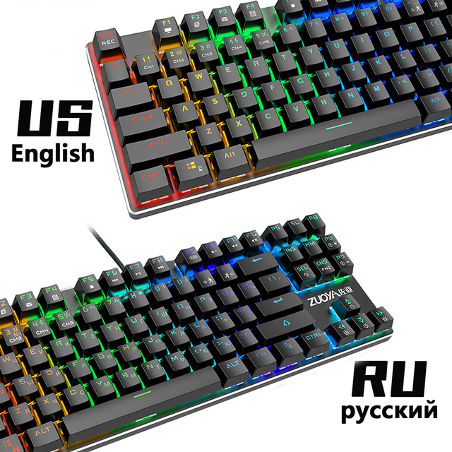 Mechanical Keyboard Wired Gaming Keyboard RGB Mix Backlit 87 104 Anti-ghosting Blue Red Switch For Game Laptop PC Russian US 2