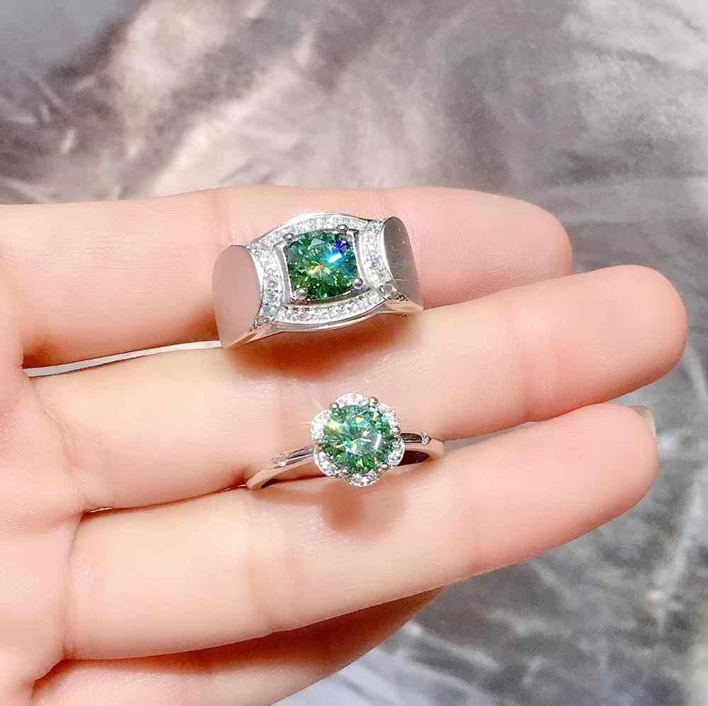 วาเลนไทน์แหวนคู่แหวนผู้ชายกล้ามเนื้อ strong Power ผู้หญิงแหวนกระพริบ Moissanite แหวน 925 เงินสเตอร์ลิงแหวนของขวัญอัญมณี
