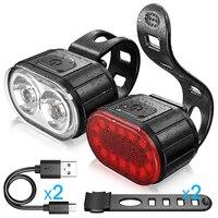 Set di luci anteriori per bici ricarica USB luce posteriore per bicicletta LED IPX4 faro impermeabile/fanale posteriore torcia per ciclismo accessori bici