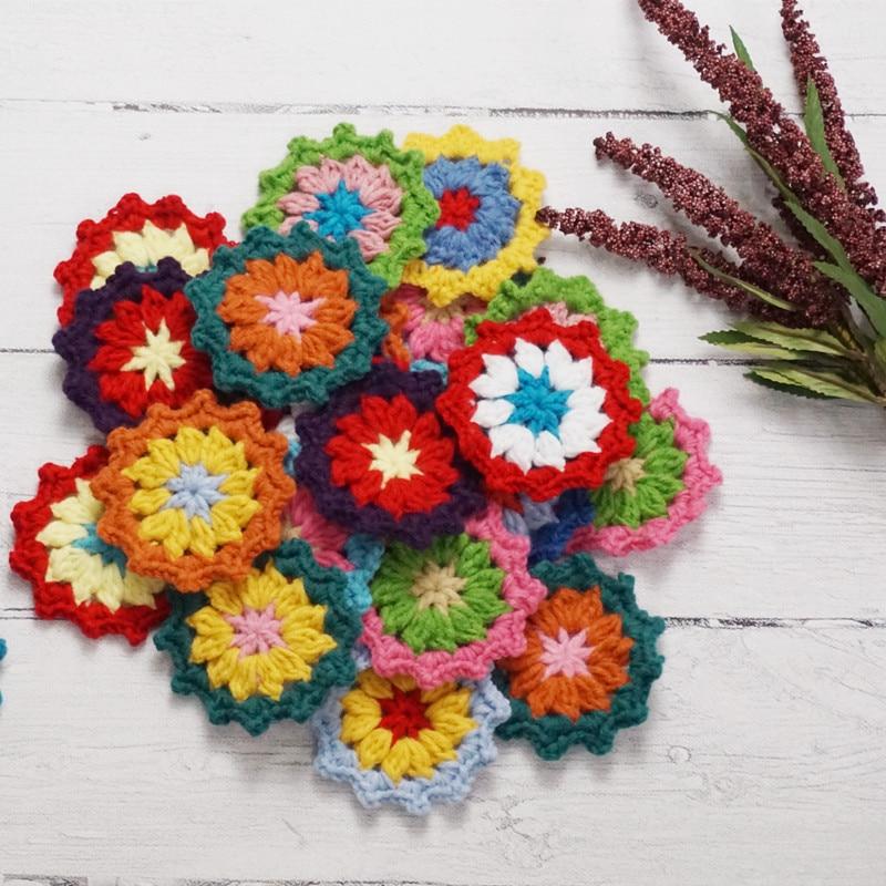 8.5cm Handmade Crochet Original Doilies Pad Flowers Cup Mat Photo Props Decorative Placemat DIY Clothes Accessory 50pcs/lot