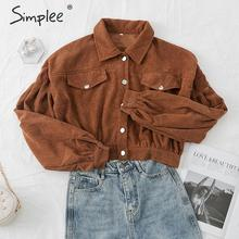 Simplee Casual corduroy buttons long sleeve jackets women 20