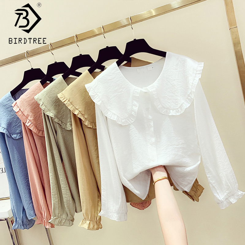 2020 Spring New Women's Fashion Peter Pan Collar Slim Shirt Long Sleeve Casual Style Cotton Blouse Female Tops T9D730O|Blouses & Shirts| - AliExpress