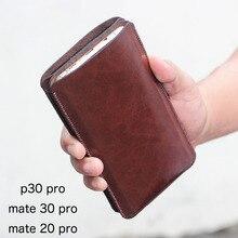 Son derece basit çift telefon düz deri case kılıf için Huawei Mate30Pro Mate20Pro P30Pro retro çantası