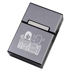 Étui à cigarettes 20 bâtons, Design pour couples, couvercle en plastique à aimant, cadeau de fumeur pour hommes, marquage au Laser, LOGO personnalisé