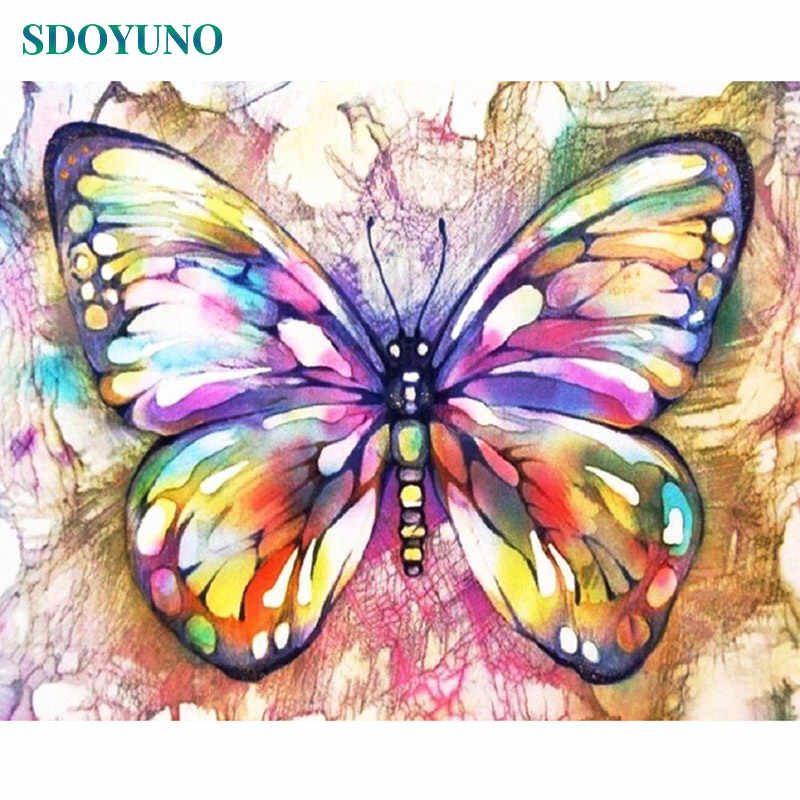 SDOYUNO Painting By Numbers Butterfly and flowers DIY Paint By Numbers For Adults Frame Home Decor Wall Picture For Living Room