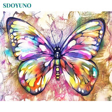 SDOYUNO Painting By Numbers Butterfly and flowers DIY Paint For Adults Frame Home Decor Wall Picture Living Room