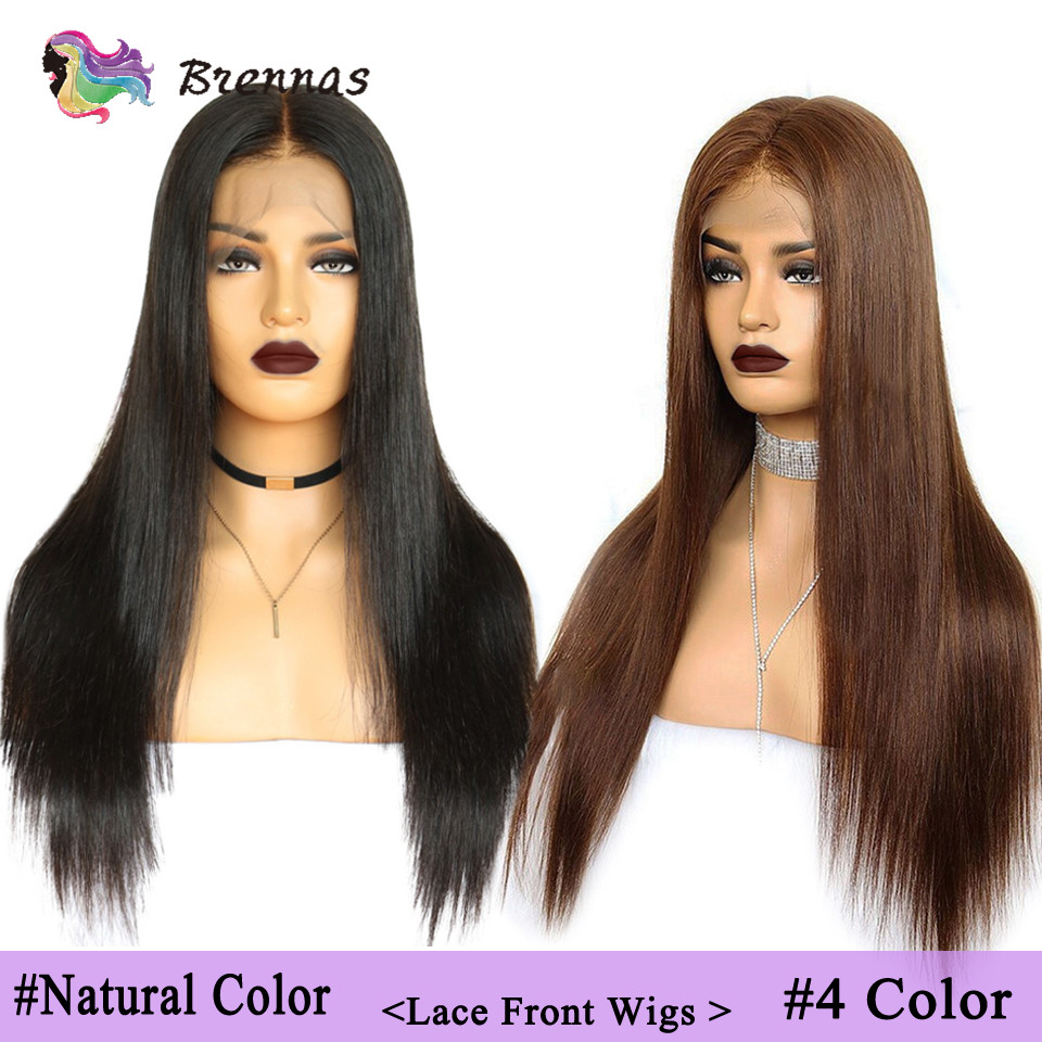 Brazilian Straight Lace Front Human Hair Wigs #1B & #4 Pre Plucked Glueless Wig Bleached Knots Non-Remy Hair Wig For Black Women