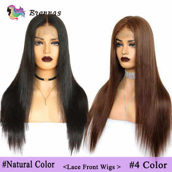 Brazlilian Straight Lace Front Human Hair Wigs #1B & #4 Pre Plucked Glueless Wig Bleached Knots Remy Hair Wig For Black Women - DISCOUNT ITEM  40% OFF All Category