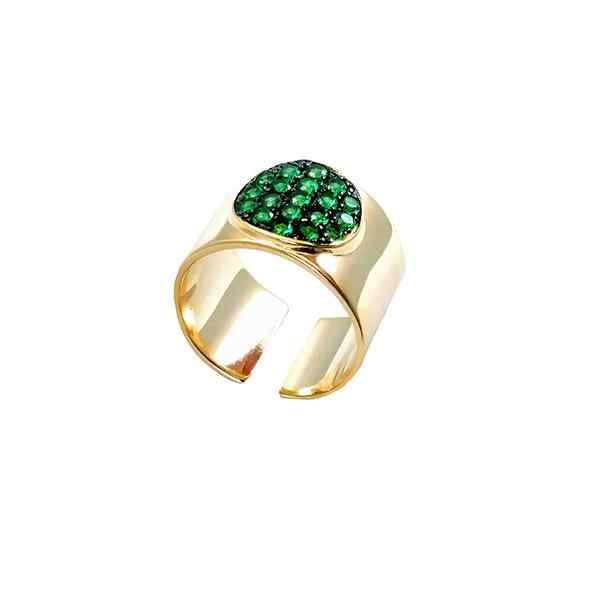 Gold Rose gold เปิดกว้างแถบสีเขียวสีแดงรอบ cz จุด geometric Knuckle แหวนนิ้วมือผู้หญิง