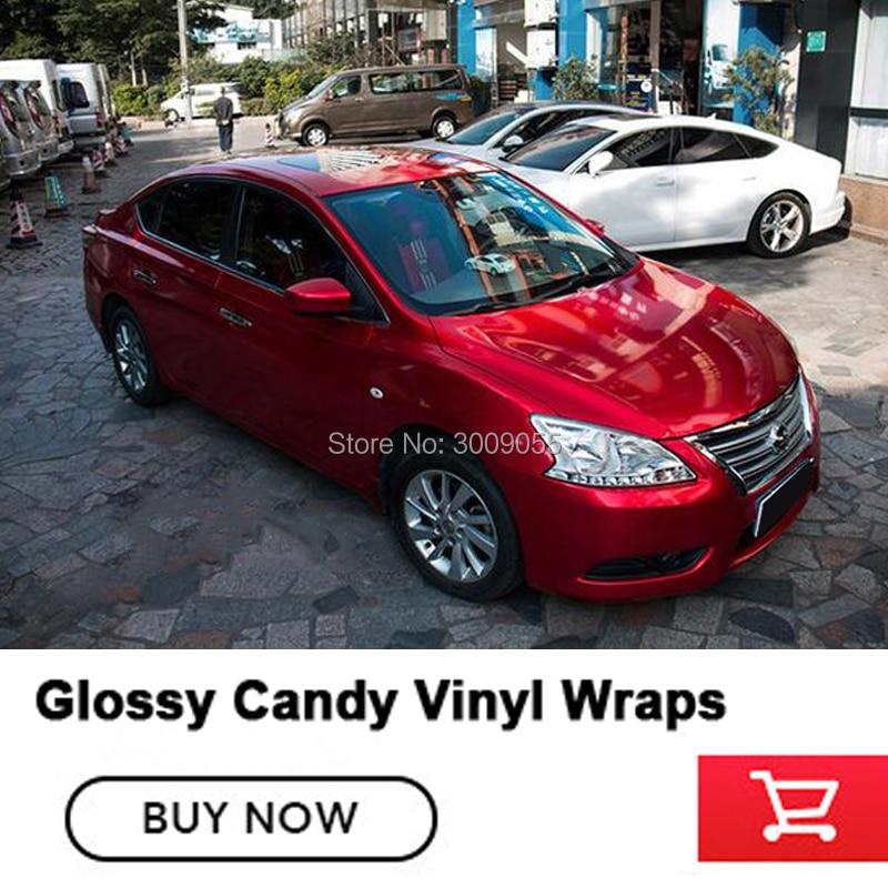 Красные глянцевые конфеты, виниловая пленка для автомобиля, стиль с воздухом, полное блестящее покрытие автомобиля, пленка из фольги, Размер 1,52x20 м/рулон, Прямая поставка