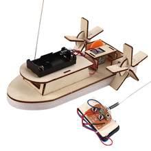 Designer de navio de controle remoto de madeira elétrica para estudante ciência tecnologia produção diy kit eletrônico designer para meninos