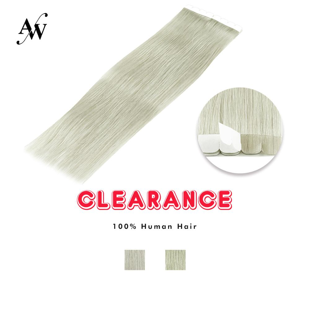 AW 16'' Straight Mini Tape In Human Hair Extensions Seamless Invisible Machine Made Remy Adhesive Extension Grey Color 1.5g/pc