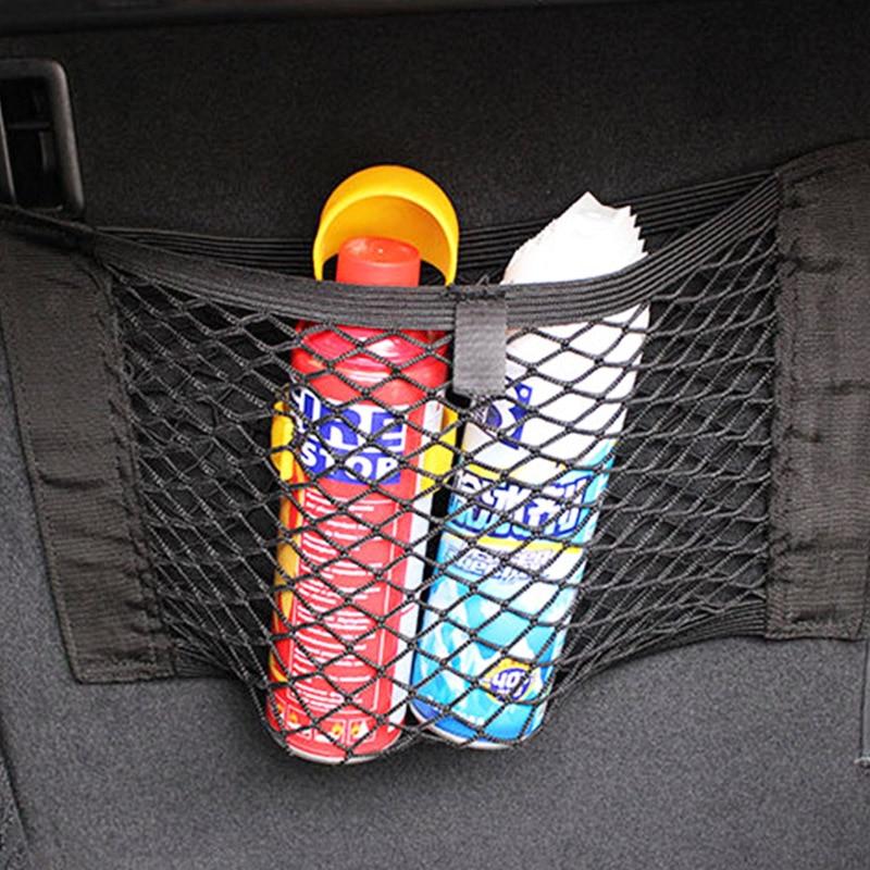 Araba arka gövde koltuk elastik ip depolama Mesh Net çanta bagaj tutucu cep Sticker gövde organizatör araba styling koltuk sırt çantası