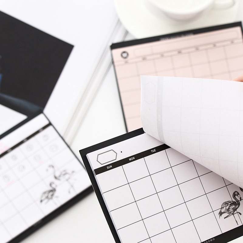 Creative Flamingo Desktop Schedule Planner Monthly Planning Notepad Work Efficiency Summary Organizer Office School Supplies