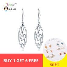 Strollgirl 925 Sterling Silver Hollow Leaf Music symbol Drop Earrings  earring Vintage Water Women Valentines