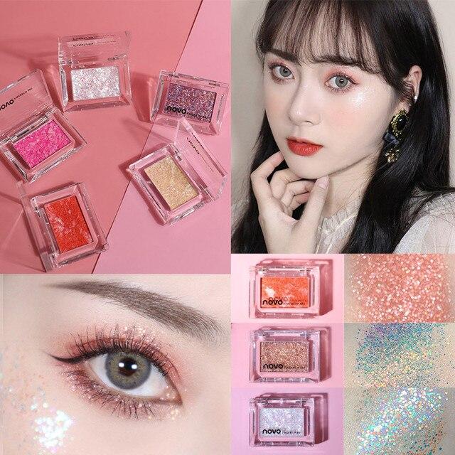 NOVO Single Color Glitter Sequins Eyeshadow Palette Makeup Galaxy Shimmer Bright Highlight Eye Shadow Waterproof Cosmetics 3