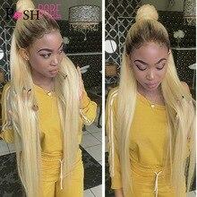 Ombre 1B 613 düz dantel ön peruk insan saçı tutkalsız hint Remy sarışın renk ön koparıp bebek saç ile peruk siyah kadın
