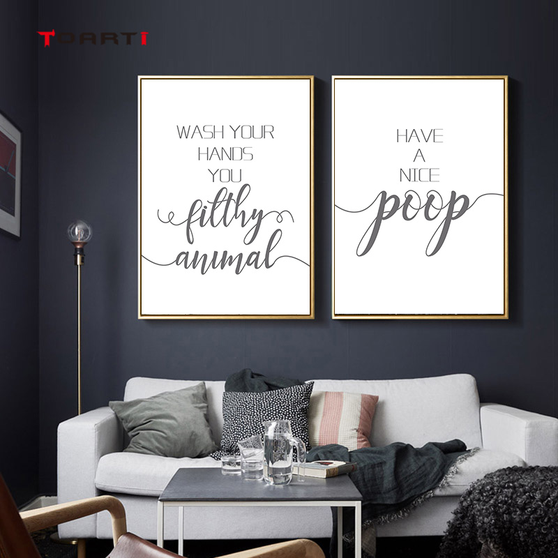 Funny Bathroom Quotes Modern Wall Posters Minimalist Black&White Nordic Prints Canvas Painting Bathroom Home Decoration Pictures