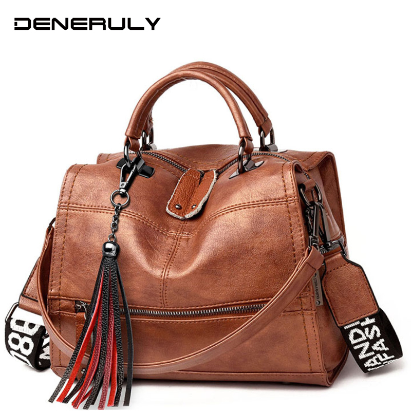 2019 Famous Brand Women Handbags Genuine Leather Bag Women Vintage Messenger Bags Ladies Hand Bags Fashion Leather Shoulder Bags
