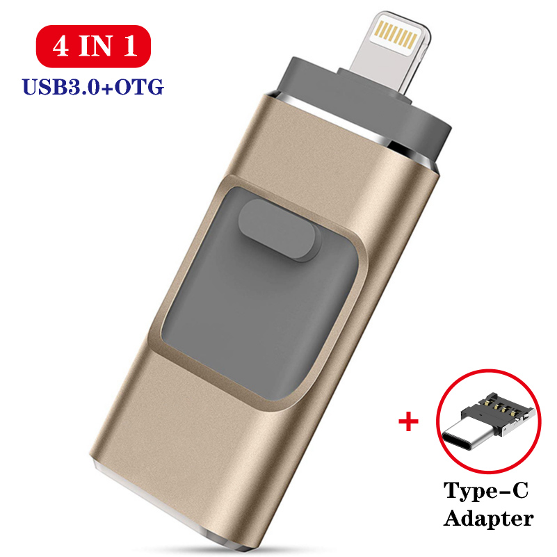 Otg Usb Flash Drive For IPhone Series Pen Drive 128gb 64gb Android Otg Pendrive For 4 In 1 Hd Memoria Stick Usb 3.0