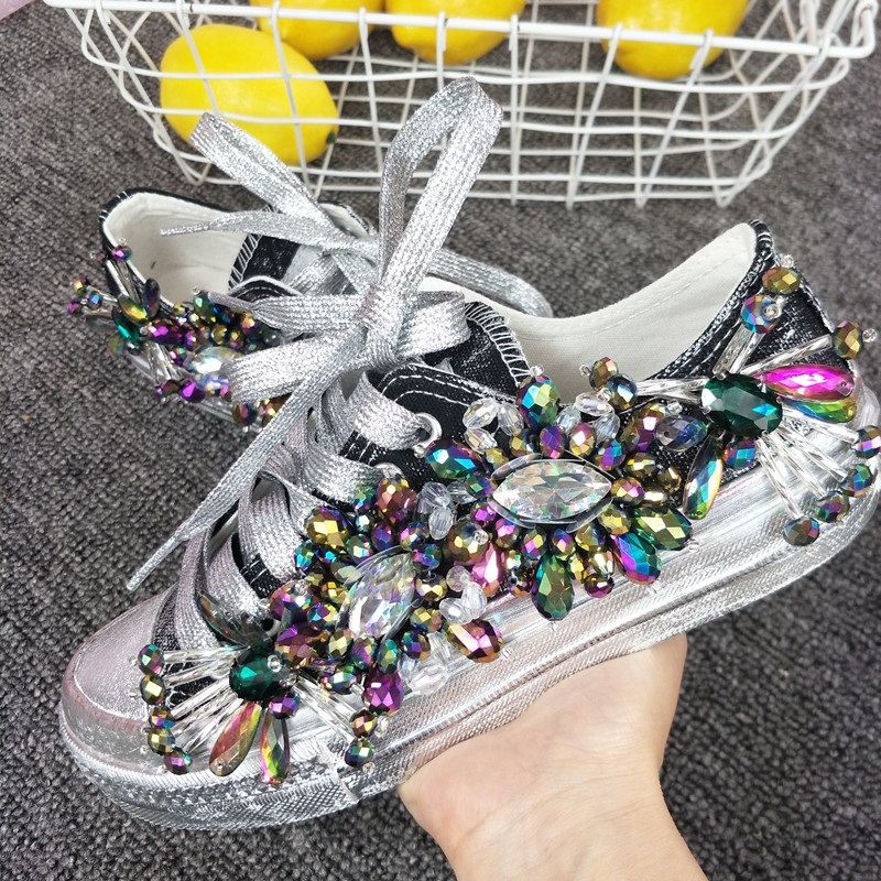 Bling Rhinestone Crystal Sneakers Women Casual Shoes 2019 Vintage Canvas Flats Ladies Sneakers Vulcanized Shoes Zapatillas Mujer