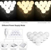 Светодиодный светильник-зеркало для макияжа, 3 цвета, голливудский туалетный светильник, бесступенчатая настенная лампа с регулируемой яркостью, 10 ламп, комплект для туалетного столика