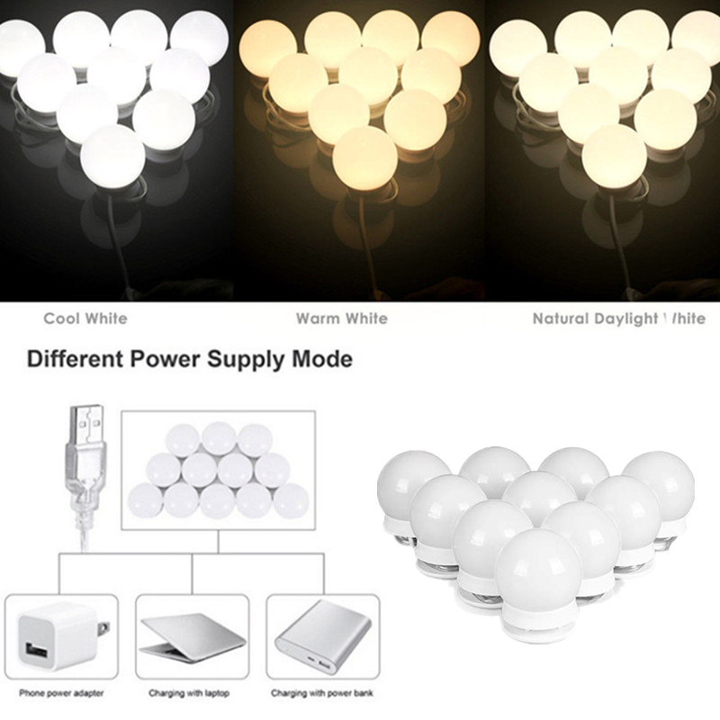 3 Color LED Makeup Mirror Light Bulb Hollywood Vanity Lights Stepless Dimmable Wall Lamp 10 Bulbs Kit For Dressing Table